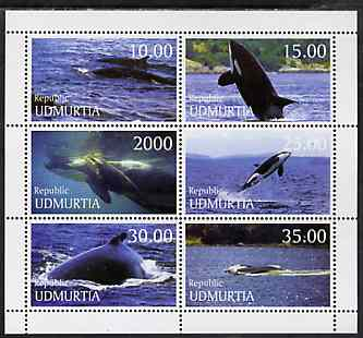 Udmurtia Republic 1999 Whales perf sheetlet containing complete set of 6 unmounted mint