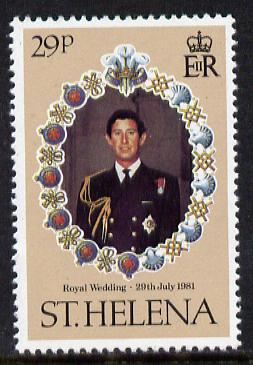 St Helena 1981 Royal Wedding 29p with wmk inverted unmounted mint SG 379w