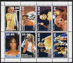 Buriatia Republic 1998 Pop Stars perf sheetlet containing complete set of 8 unmounted mint