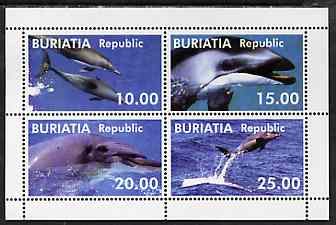 Buriatia Republic 1998 Whales perf sheetlet containing complete set of 4 unmounted mint