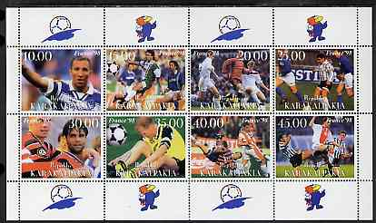 Karakalpakia Republic 1999 France '98 Football Championships perf sheetlet containing complete set of 8 values unmounted mint
