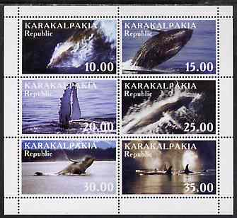 Karakalpakia Republic 1999 Whales perf sheetlet containing complete set of 6 unmounted mint