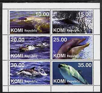 Komi Republic 1999 Whales & Dolphins perf sheetlet containing complete set of 6 unmounted mint, stamps on whales