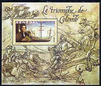 Senegal 1999 Columbus m/sheet #4 containing 200f value (The Triumph of Columbus) unmounted mint