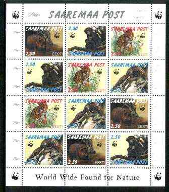 Estonia (Saaremaa) 1998 WWF - Wild Animals perf sheetlet containing complete set of 12 (3 sets of 4) unmounted mint