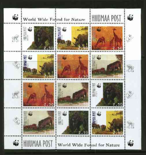 Estonia (Hiiumaa) 1998 WWF - Wild Animals perf sheetlet containing complete set of 12 (3 sets of 4) unmounted mint
