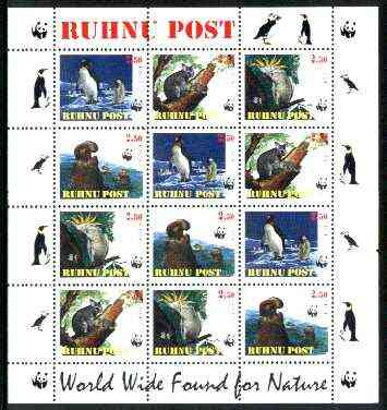 Estonia (Ruhnu) 1998 WWF - Wild Animals perf sheetlet containing complete set of 12 (3 sets of 4) unmounted mint