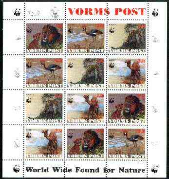 Estonia (Vorms) 1998 WWF - Wild Animals perf sheetlet containing complete set of 12 (3 sets of 4) unmounted mint