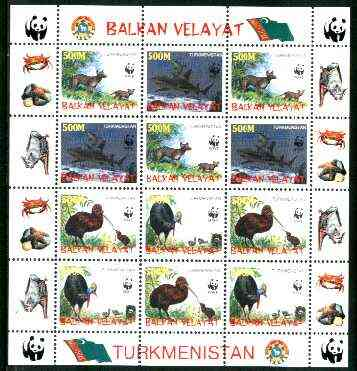 Turkmenistan (Balkan Velayat) 1998 WWF - Wild Animals & Birds perf sheetlet containing complete set of 12 (3 sets of 4) unmounted mint