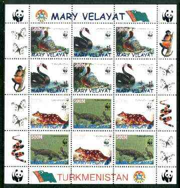Turkmenistan (Mary Velayat) 1998 WWF - Wild Animals & Birds perf sheetlet containing complete set of 12 (3 sets of 4) unmounted mint