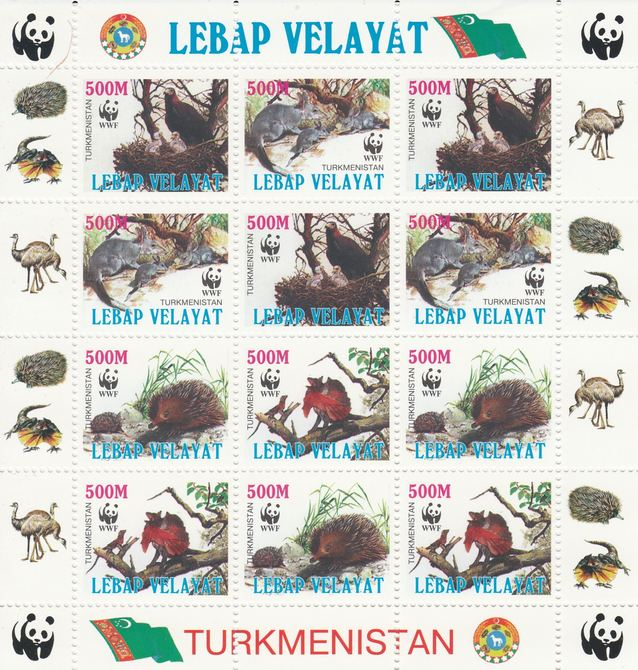Turkmenistan (Lebap Velayat) 1998 WWF - Wild Animals & Birds perf sheetlet containing complete set of 12 (3 sets of 4) unmounted mint