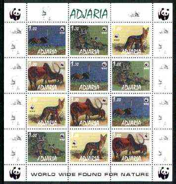Adjaria 1998 WWF - Wild Animals & Birds perf sheetlet containing complete set of 12 (3 sets of 4) unmounted mint