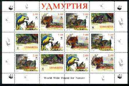 Udmurtia Republic 1998 WWF - Wild Animals & Birds perf sheetlet containing complete set of 12 (3 sets of 4) unmounted mint