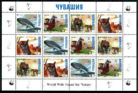 Chuvashia Republic 1998 WWF - Wild Animals perf sheetlet containing complete set of 12 (3 sets of 4) unmounted mint