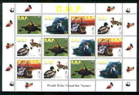 Dnister Moldavian Republic (NMP) 1998 WWF - Wild Animals & Birds perf sheetlet containing complete set of 12 (3 sets of 4) unmounted mint