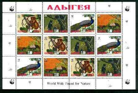 Adigey Republic 1998 WWF - Wild Animals & Birds perf sheetlet containing complete set of 12 (3 sets of 4) unmounted mint