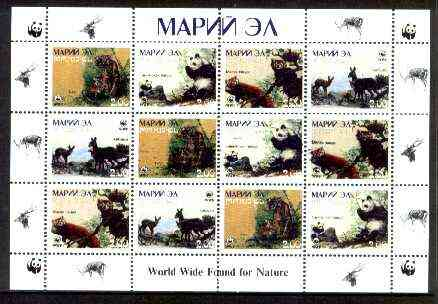 Marij El Republic 1998 WWF - Wild Animals perf sheetlet containing complete set of 12 (3 sets of 4) unmounted mint