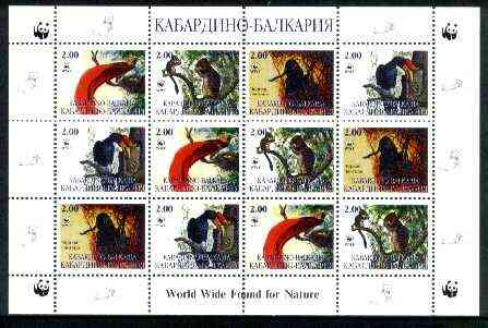 Kabardino-Balkaria Republic 1998 WWF - Wild Animals & Birds perf sheetlet containing complete set of 12 (3 sets of 4) unmounted mint