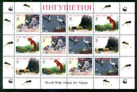 Ingushetia Republic 1998 WWF - Wild Animals & Birds perf sheetlet containing complete set of 12 (3 sets of 4) unmounted mint