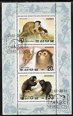 North Korea 1992 Monkeys sheetlet containing set of 3 very fine cto used, SG N3108-10