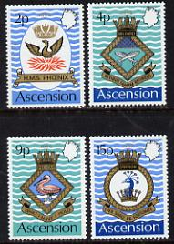 Ascension 1971 Royal Naval Crests - 3rd series set of 4 unmounted mint, SG 149-52, stamps on ships, stamps on shakespeare, stamps on phoenix