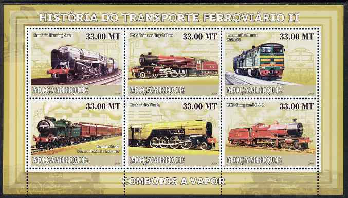 Mozambique 2009 History of Transport - Railways #02 perf sheetlet containing 6 values unmounted mint