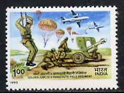 India 1993 50th Anniversary of 9th Parachute Field Artillery Regiment unmounted mint, SG 1533*