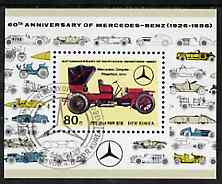 North Korea 1986 60th Anniversary of Mercedes-Benz m/sheet fine cto used, SG MS N2593