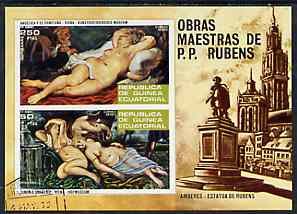 Equatorial Guinea 1973 Nude Paintings by Rubens imperf m/sheet very fine cto used, Mi BL 79