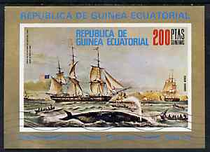 Equatorial Guinea 1973 Paintings of Ships imperf m/sheet (Early Whaler) very fine cto used