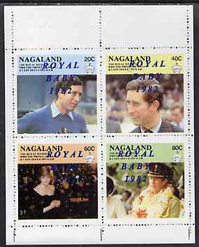 Nagaland 1982 Royal Baby opt on Royal Wedding perf sheetlet of 4 unmounted mint
