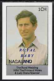 Nagaland 1982 Royal Baby opt on Royal Wedding 1ch imperf souvenir Sheet (Charles) unmounted mint