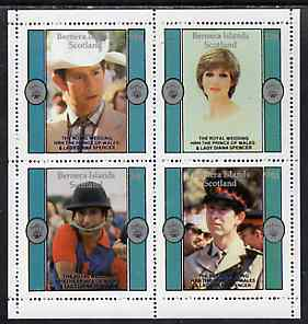 Bernera 1981 Royal Wedding perf sheetlet containing set of 4 unmounted mint, stamps on royalty, stamps on diana, stamps on charles, stamps on