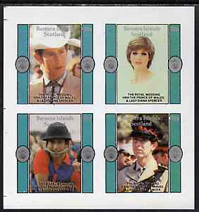 Bernera 1981 Royal Wedding imperf sheetlet containing set of 4 unmounted mint, stamps on royalty, stamps on diana, stamps on charles, stamps on
