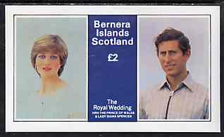 Bernera 1981 Royal Wedding �2 imperf deluxe Sheet (Charles & Diana) unmounted mint
