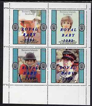 Bernera 1982 Royal Baby opt on Royal Wedding perf sheetlet containing set of 4 unmounted mint