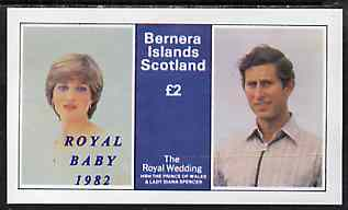 Bernera 1982 Royal Baby opt on Royal Wedding �2 imperf deluxe Sheet (Charles & Diana) unmounted mint