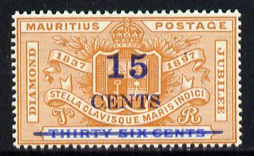 Mauritius 1899 15c on 36c unmounted mint, (SG 135), stamps on , stamps on  qv , stamps on