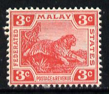Malaya - Federated Malay States 1904 Tiger 3c carmine unmounted mint, SG 34