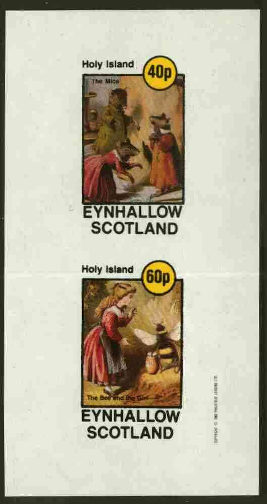 Eynhallow 1982 Children & Animals (Mice & Girl with Bee) imperf  set of 2 values (40p to 60p) unmounted mint