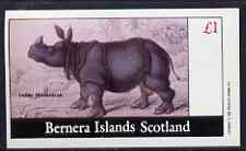 Bernera 1982 Indian Rhino imperf souvenir sheet (�1 value) unmounted mint