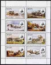 Staffa 1980 London 1980 black opt on Rowland Hill (Mail Coaches) perf  set of 8 values (1p to 40p) unmounted mint