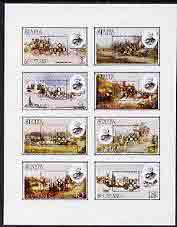 Staffa 1980 London 1980 black opt on Rowland Hill (Mail Coaches) imperf  set of 8 values (1p to 40p) unmounted mint
