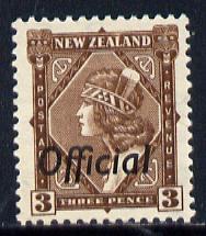 New Zealand 1936-61 Maori Girl 3d def Opt'd Official unmounted mint, SG O125