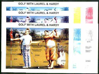 Touva 1995 Golf with Laurel & Hardy composite sheet containing 10 values, the set of 7 imperf progressive proofs comprising the 4 basic colours plus 2, 3 and all 4-colour composites unmounted mint