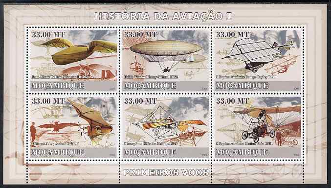 Mozambique 2009 History of Transport - Aviation #01 perf sheetlet containing 6 values unmounted mint