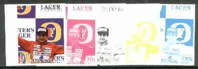 Turkmenistan 1999 Ayrton Senna from Events & People of the 20th Century, the set of 5 imperf progressive proofs comprising the 4 basic colours plus all 4-colour composites unmounted mint