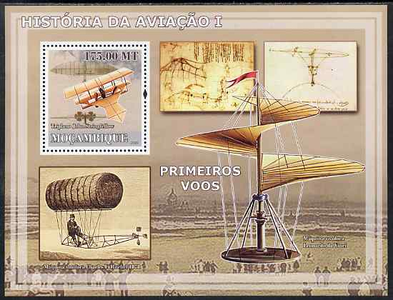 Mozambique 2009 History of Transport - Aviation #01 perf m/sheet unmounted mint