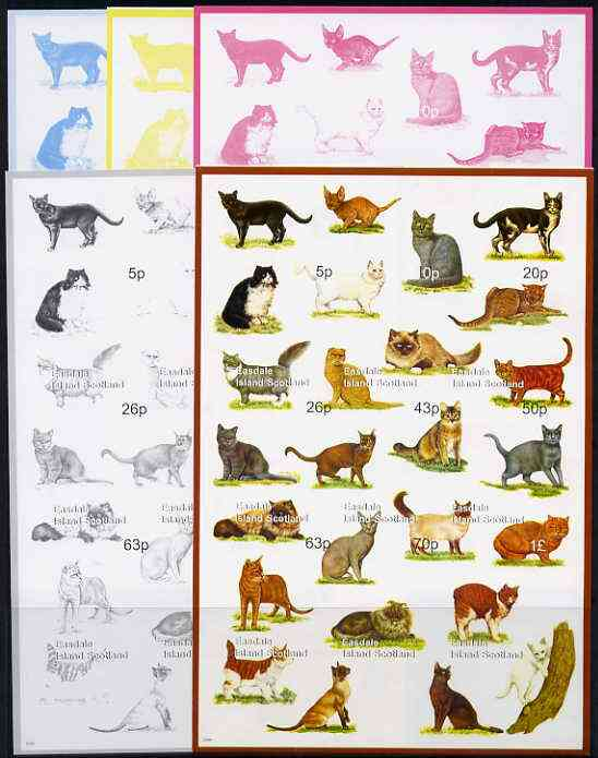 Easdale 1999 Cats Composite sheetlet containing 9 values, the set of 5 imperf progressive proofs comprising the 4 basic colours plus all 4-colour composites unmounted mint