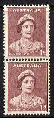 Australia 1937-49 KG6 Queen Elizabeth 1d maroon coil pair unmounted mint, SG181a, stamps on royalty , stamps on  kg6 , stamps on queen mother
